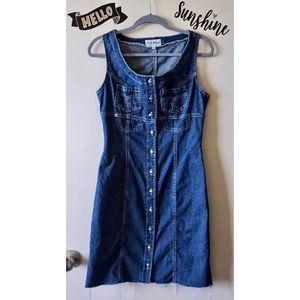 VTG Denim Medium Wash Button Up Sleeveless Dress 6